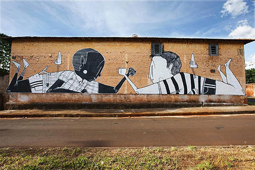 Delightful Black and White Street Art in Brazil is All About the Positivity